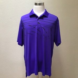 Adidas Golf Purple Polyester Golf Polo Shirt